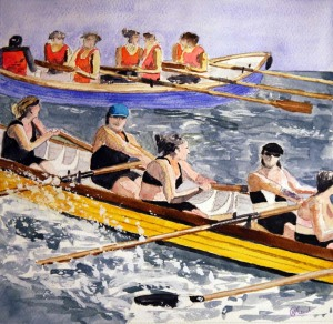 Gig-Race-Boat-Watercolor-Painting