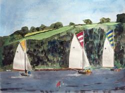 Falmouth Working Boats Racing-at-Point-Regatta-Boat-Watercolor-Painting