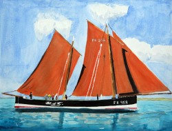 Reaper-a-Fifie-from-Scotland-Boat-Watercolor-Painting